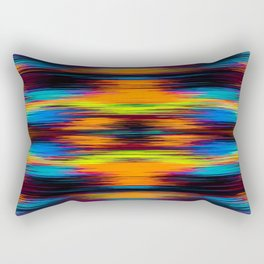 vintage psychedelic geometric abstract pattern in orange brown blue yellow Rectangular Pillow