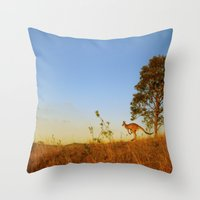 kangaroo Throw Pillows featuring Kangaroo  by Pippa Selby