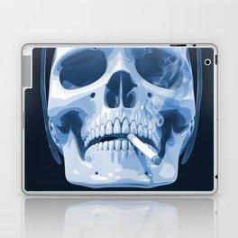 Skull Smoking Cigarette Blue Laptop & iPad Skin