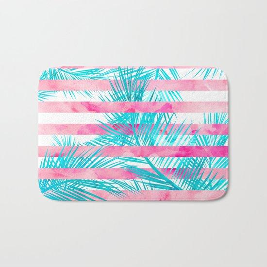 Modern pink turquoise tropical palm tree watercolor stripes pattern Bath Mat