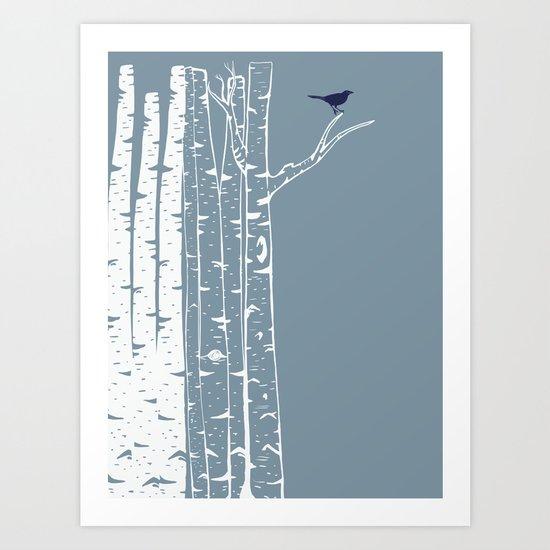 Birch Trees with Bird Art Print