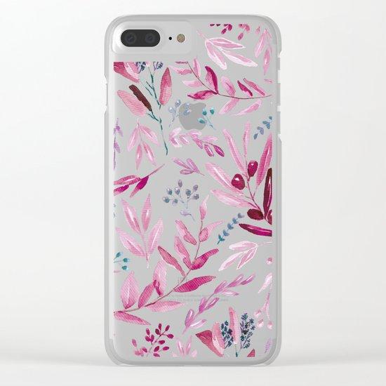 Eucalyptus Pink Clear iPhone Case