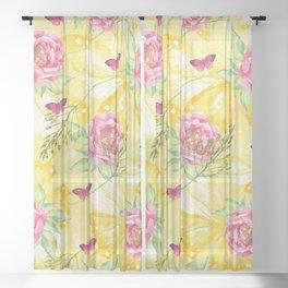 Yellow Butterflies Pink Peony Sheer Curtain
