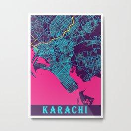Karachi Neon City Map, Karachi Minimalist City Map Art Print Metal Print