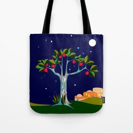 A Pomegranate Tree in Israel at Night, Harvest Tote Bag