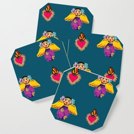 Mexican Angels and Hearts Cerulean Coaster