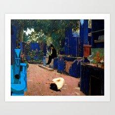 the blue guitar Art Print