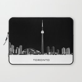 Toronto Skyline - White ground / Black Background Laptop Sleeve