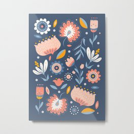 Folk Art Florals in Blue + Pink Metal Print