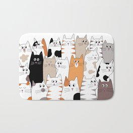 Cat Cartoon Expressions Bath Mat