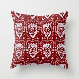 Krampus Red Throw Pillow