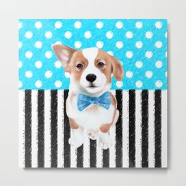 Cute Corgi Blue Metal Print