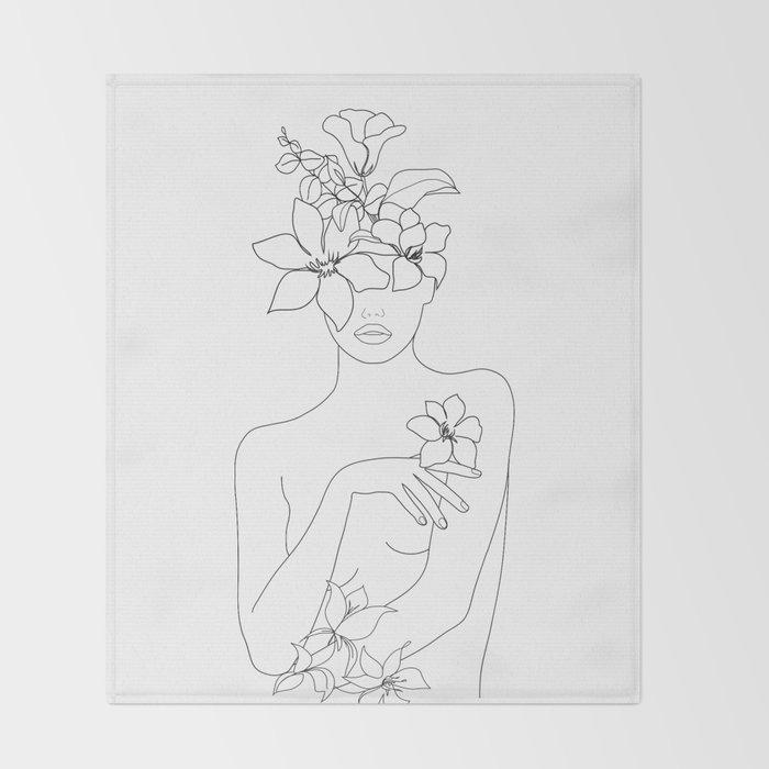 Minimal Line Art Woman with Flowers IV Throw Blanket
