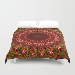 Detailed brown and red mandala Duvet Cover