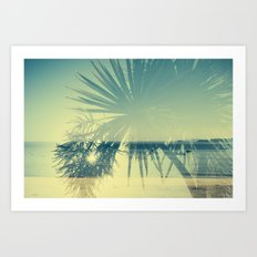 Double Exposure Porthminster Beach,St. Ives, Cornwall Art Print