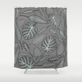 Monstera cyan leaves Shower Curtain