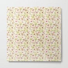 watercolor rose buds pattern Metal Print