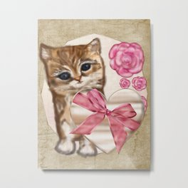 Kitty Valentine Victorian Mixed Media Metal Print