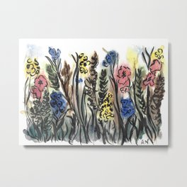 Abstract Floral III: Wildflowers Metal Print