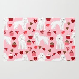 Toy poodle white poodles valentines day cupcakes love hearts dog breed pet portrait pattern gifts pe Rug