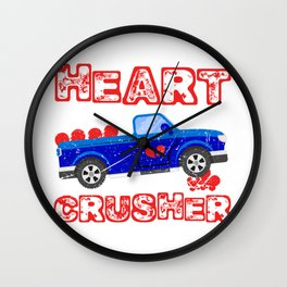 Heart Crusher Happy Valentine's Day T-shirt Design Heart Love Marriage Couple Anniversary Wife Wall Clock