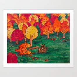 Beaver Chomps a Tree Art Print