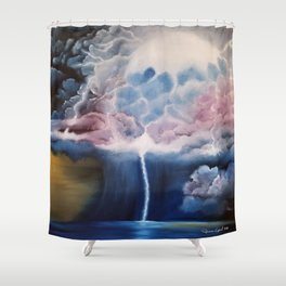 Forge through the Storm, stormy night, cloudy night, lightning art, storm artwork Shower Curtain