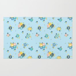 Romantic flowers in light blue background Rug