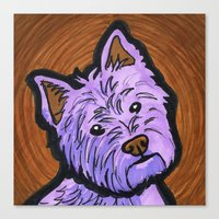 westie Canvas Prints featuring Purple Westie by Gianna Brucato