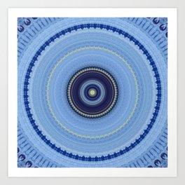 Powder Blue Boho Mandala Design Art Print
