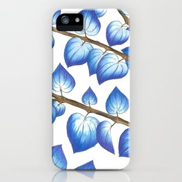 Breezy Blue Leaves iPhone Case