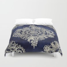 Cream Floral Moroccan Pattern on Deep Indigo Ink Duvet Cover