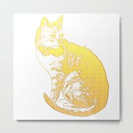 Pretty Gold Cat Illustration Metal Print