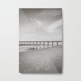 Johnny Mercer's Fishing Pier Wrightsville Beach NC Sepia Black and White Metal Print