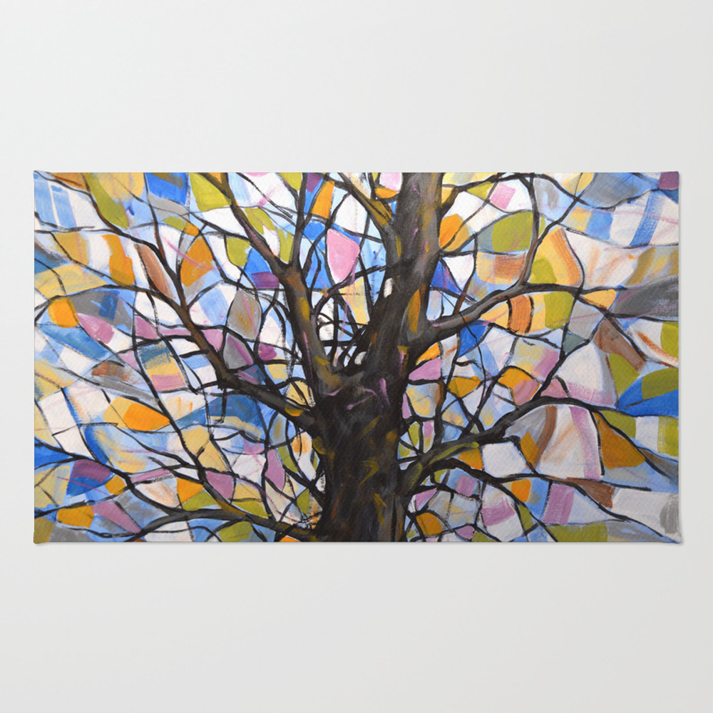 Stained Glass Tree #1 Rug by Amygiacomelli RUG973914