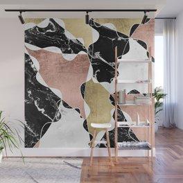 Modern white black marble rose gold foil color block handdrawn geometric lines Wall Mural