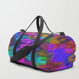 sexy kiss lipstick abstract pattern in pink blue orange red Duffle Bag