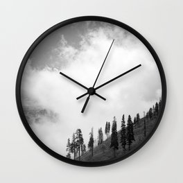 Mountains, Valleys and Forests. Yosemite National Park, Black and White Photography, Clouds and Fog Wall Clock