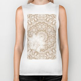 Butterfly on mandala in iced coffee tones Biker Tank