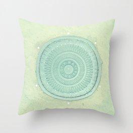 key lime polka dot coal hole cover (london) Throw Pillow