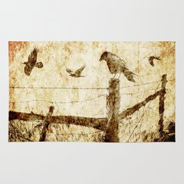 Crows by the Corner Fence Rug