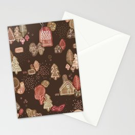 Hansel and Gretel Fairy Tale Gingerbread Pattern on Brown Stationery Cards