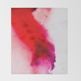 Slow Burn: simple abstract ink on paper in red, purple, and pink Throw Blanket