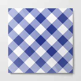 Gingham - Navy Metal Print