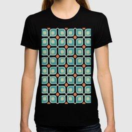 Abstract Flower Pattern Mid Century Modern Retro Turquoise Orange T-shirt