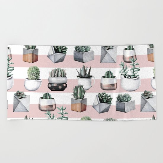 Potted Cactus Stripes Pink Rose Gold Beach Towel