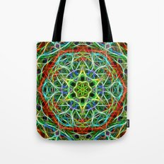 Feathered texture mandala in green and brown Tote Bag