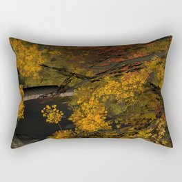 Autumn Leaves and Stream Rectangular Pillow