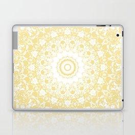 White Lace Mandala on Sunshine Yellow Background Laptop & iPad Skin