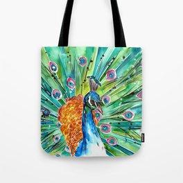 Vibrant Peacock Tote Bag